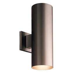 "Progress Lighting - Progress Lighting 5"" Aluminum Cylinder Outdoor Wall Sconce X-02-5765P - An elongated cylindrical shape ensures that this Progress Lighting outdoor wall sconce will add plenty of ample light and style to any outdoor space. The five in body features sturdy aluminum construction and your choice of powder coat finishes: Antique Bronze or Metallic Gray. UL listed for wet locations."