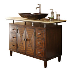 "Onyx Counter Top Verdana Vessel Sink Bathroom Vanity 48"" - This 48"" vessel sinks Verdana Sink Cabinet which is the sleekest, the most colorful and the most impressive among the entire collection of vanities we carry. It sole purpose is to complement many of today's modern bathroom decors. This bathroom vanity features durable wood construction with a thick honey color marble top."