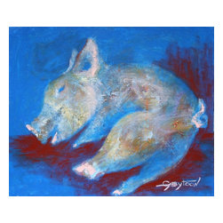 """Sleeping Pig, 20""""X16"""" , 2014, Acrylic, Art Deco, F, Original, Painting - """"I like to use acrylic vs the oil because acrylic dries fast and I can express my feelings with no waiting of the paints will dry for the next lever of the artwork. I also use spatulas, palette knives and brushes(more rare). Sometimes I like to paint animals. Not in realistic, nor animation style, but something in-between. Soft, cozy, warm feeling :-) This painting is varnished, the sides are finished, black. The painting has wire and it's ready to hang."""""""