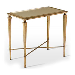 Kathy Kuo Home - Alina Hollywood Regency Antique Gold Leaf Side End Table - Classically inspired, this elongated side table features a subtlety angled mirrored profile perched on delicate tapered legs.  Antique gold leaf is hand applied by skilled artisans resulting in a richer, more luminous surface.