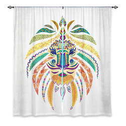 """DiaNoche Designs - Window Curtains Unlined - Pom Graphic Design Whimsical Lion - DiaNoche Designs works with artists from around the world to print their stunning works to many unique home decor items.  Purchasing window curtains just got easier and better! Create a designer look to any of your living spaces with our decorative and unique """"Unlined Window Curtains."""" Perfect for the living room, dining room or bedroom, these artistic curtains are an easy and inexpensive way to add color and style when decorating your home.  The art is printed to a polyester fabric that softly filters outside light and creates a privacy barrier.  Watch the art brighten in the sunlight!  Each package includes two easy-to-hang, 3 inch diameter pole-pocket curtain panels.  The width listed is the total measurement of the two panels.  Curtain rod sold separately. Easy care, machine wash cold, tumble dry low, iron low if needed.  Printed in the USA."""