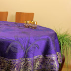 "Unique & DecorativeTablecloths - ""Plum Purple""53"" Round Tablecloth. Beautifully painted by hand in India. Dupion Silk fabric. Great addition to your room decor."