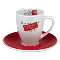 Konitz - Set of 4 Amore Mio Espresso Doppio Cups & Saucers - Some mornings you need an extra kick to get you going. Start with a double shot of caffeine in this stylish espresso dippio cup and saucer set. Carefully crafted from high quality porcelain, this duo is beautifully designed with a cool, international theme.