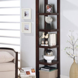 Coaster - Cappuccino Transitional Bookcase - This cappuccino corner bookcase is perfect for tight spaces.
