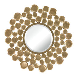Sterling - Sterling Mirror With Gold Leaf Bubble Frame - Sterling 132-003 Mirror Set In Gold Leaf Bubble Frame