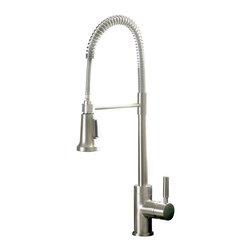 Premier - Essen Commercial Style Pull Down Kitchen Faucet - Brushed Nickel - Commercial-Style, Pull-Down Kitchen Faucet PVD Brushed Nickel Ceramic Cartridge Features: PVD Brushed Nickel. Ceramic Cartridge. Single Handle Kitchen Faucet. Metal Lever Handle. Commercial-Style for Residential Kitchen. Matching Finish Pull-Down Sprayer.