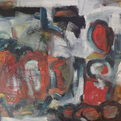 """Art and Sculptures - An abstract painting by a cery talented local Bay Area artist. Annie Gellepsie. Measures 40"""" wide, 30"""" tall, 1.5"""" deep. Great original condition. Please see photos."""