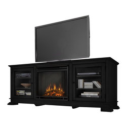 Real Flame - Real Flame Hudson Freestanding Electric Fireplace TV Stand in Black - Real Flame - Electric Fireplaces - 4100EBK - Enjoy the beauty of a Real Flame Electric fireplace, this substantial freestanding fireplace also doubles as an entertainment center. Footed pedestals elevate the unit and detailed trim throughout add a touch of elegance. Glass doors on each side open to reveal shelving to store media components. Available in Black and Espresso. The Vivid Flame Electric Firebox plugs into any standard outlet for convenient set up. The features include remote control, programmable thermostat, timer function, brightness settings and ultra bright Vivid Flame LED technology.