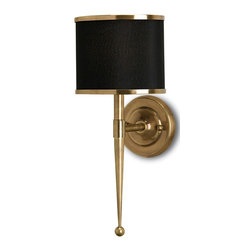 "Currey and Company - Primo Wall Sconce - Mike Brady from ""The Brady Bunch"" would be proud to have this elegant wall sconce in his home. A salute to midcentury modern design, the light fixture has a black shade that is complemented by polished brass trim and base."