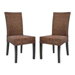 Safavieh Furniture - 22.8 in. Wicker Side Chair - Set of 2 - Set of 2. Long sleek back. Made from wicker. No assembly required. 18.9 in. W x 22.8 in. D x 38.6 in. H (19 lbs.)Great addition to any home decor.