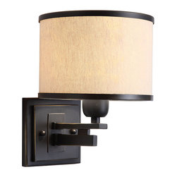 None - North Miami 1-light Black/ Beige Wall Sconce - Create a fashionable setting with this stylish sconce. This fixture features the North Miami appearance. Use this special sconce design for indoor lighting in any room. It includes an alluring beige shade outlined in black. This is a one-light sconce.