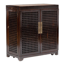 Lattice Bar - I just love the deep rich wood, lattice design and brass hardware on this bar. It's the perfect spot for keeping all of your spirits and barware in one place, ready for a cocktail party at a moment's notice.
