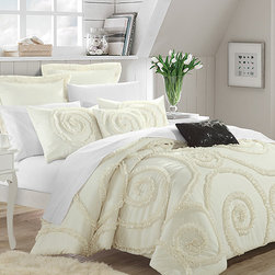 Chic Home Design - Beige & Cream Rosalia Ruffled Comforter Set - Surround yourself in cozy elegance with this eight-piece comforter set featuring a soft blend that looks as good as it feels.   Includes comforter, bed skirt, two pillow shams, two Euro shams and two decorative pillows Polyester Machine wash; tumble dry Imported