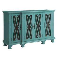 Coaster - Accent Cabinet, Teal Blue - Finished in a classic teal blue color, this accent cabinet features four doors with plenty of shelf space inside. Detailed carvings dress up each glass cabinet door and are paired with complementary door knobs.