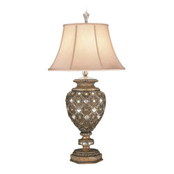 Fine Art Lamps - A Midsummer Nights Dream Table Lamp, 174110ST - Give your favorite space a touch of glitter with this unusual piece. An urn-shaped base, bedecked with diamond-shaped crystals, lofts a simple silk shantung shade.