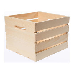 Houseworks - Houseworks Baskets Crates and Pallet 13.5 in. x 12.5 in. x 9.5 in. Medium Wood - Shop for Storage & Organization at The Home Depot. Our smallest crate with handles the medium crate is ideal as a small bookshelf end table organizer or to hold your small plants. All of our 12.5 in. wide crates hold hanging file folders perfectly. Add wheels and you have a rolling file cabinet. Or stack them for vertical shelves. Color: Unfinished Wood.