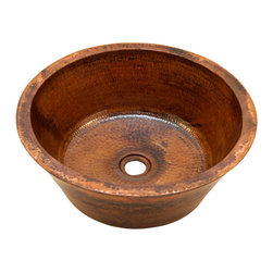 "Artesano Copper Sinks - Round Double Wall Vessel Bathroom Copper Sink - Round Double Wall Vessel Bathroom Copper Sink 16 x 6 for Over the Counter or Vessel installation, all hand made, all copper, all hammered, rim is 1"", drain is 1.5"", inside is 14 x 5"""