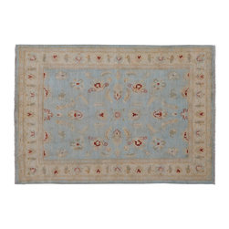 1800-Get-A-Rug - Washed Out Sky Blue Peshawar Hand Knotted Rug Sh9309 - About Oushak and Ziegler Mahal