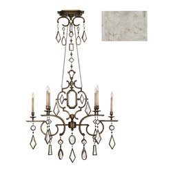 Fine Art Lamps - Encased Clear Crystal Gems Chandelier, 725940-3ST - Talk about multifaceted! Illuminate your favorite formal space with crystals and color. This elegant chandelier with a vintage silver-leaf finish drips dramatically with encased gems.