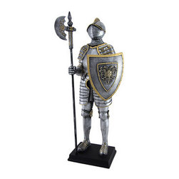 Medieval Armor Knight With Poleaxe and Shield Statue - This chivalrous fully-armored knight stands at attention, battle-ready with a deadly poleaxe and sturdy shield embellished with an intricate coat of arms. Every inch of this remarkable figure, from each individual link of chain mail to every rivet in the plate armor, stands in striking detail. The brushed silver finish, gold accents, and expertly detailed adornments suggest genuine steel armor without any of the rusting metal. Made from cold cast resin, the intricate figure measures 14 inches tall, 6 inches wide, and 4 inches deep. Set this valiant warrior in any room as an admirable home accent and let him stand watch over your precious kingdom.