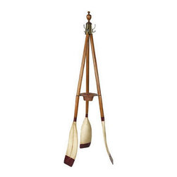 """Oxford Varsity Oar Coat Stand - The Oxford Varsity Oar Coat Stand measures 27""""D x 73.75""""H. Three French finished wooden oars make up a sturdy and attractive coat stand. It features bronzed hardware, turned finials and a rattan key  change basket. It is practical, attractive, colorful and it will make a large statment in many decor environments. It will symbolize your love for the water and outdoors."""