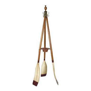"Oxford Varsity Oar Coat Stand - The Oxford Varsity Oar Coat Stand measures 27""D x 73.75""H. Three French finished wooden oars make up a sturdy and attractive coat stand. It features bronzed hardware, turned finials and a rattan key  change basket. It is practical, attractive, colorful and it will make a large statment in many decor environments. It will symbolize your love for the water and outdoors."
