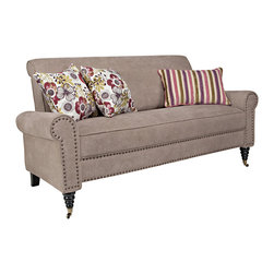 ANGELOHOME - angelo:HOME Harlow Parisian Tan-Gray Velvet Sofa - The angelo:HOME Harlow sofa was designed by Angelo Surmelis. The Harlow sofa has a slightly rounded arm and is covered in a velvety plush chenille Parisian tan-gray fabric with three accent pillows.