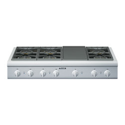 Thermador - 48 inch Professional Series Rangetop - New 48-inch Professional Series Rangetops give you the convenience of our fourth-generation pedestal Star Burners for the highest standard in performance and convenience. You get 6 Star Burners and an electric griddle.