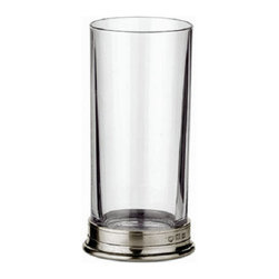 """Match - Match Highball-Set of Two - This highball glass is made of crystal and has a pewter base. Dimensions: 2.8D x 6.4""""H."""