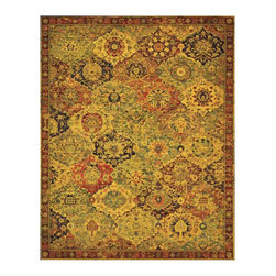 """Nourison - Nourison Timeless TML03 5'6"""" x 8' Multicolor Area Rug 21033 - An exceptional """"Vase"""" carpet in Berlin's Schlossmuseum is the basis for this exciting design. The original, a 16th century example attributed to Central Persia, presents a classic flower and vase pattern within multicolored, lozenge-shaped medallions. Comprised of cotton, linen and wool, the original is predominantly blue, faded green, red, carmine, yellow and white. While there is no apparent system in the coloring of the lozenges, the motifs are symmetrical and balanced. As in the original, this interpretation presents a richly pleasing multicolored medley. Its sparkling palette of ruby, ebony, golds and greens create warmth and beauty that will light up a room."""