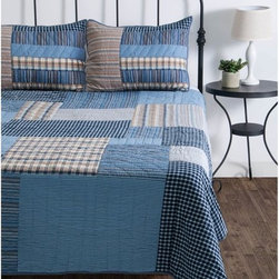 Rizzy Home - Rizzy Home Gracen Quilted Bed Set Multicolor - BT1078FULL/ QUEEN - Shop for Bedding Sets from Hayneedle.com! The handsome look of the Rizzy Home Gracen Quilted Bed Set shows that masculine design can be as chic and pulled together as its feminine counterpart. The classic look of plaid is always in style and the patchwork design makes great use of it. Shades of blue and brown are the perfect finish. Machine washable available in your choice of size.Comforter Dimensions:Twin: 68L x 92W in.Full/Queen: 92L x 96W in.King: 96L x 108W in.About Rizzy HomeRizwan Ansari and his brother Shamsu come from a family of rug artisans in India. Their design color and production skills have been passed from generation to generation. Known for meticulously crafted handmade wool rugs and quality textiles the Ansari family has built a flourishing home-fashion business from state-of-the-art facilities in India. In 2007 they established a rug-and-textiles distribution center in Calhoun Georgia. With more than 100 000 square feet of warehouse space the U.S. facility allows the company to further build on its reputation for excellence artistry and innovation. Their products include a wide selection of handmade and machine-made rugs as well as designer bed linens duvet sets quilts decorative pillows table linens and more. The family business prides itself on outstanding customer service a variety of price points and an array of designs and weaving techniques.