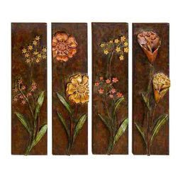 UMA - Field of Flowers Metal Wall Art Set of Four Panels - Four rectangular metal works of art with vibrantly colored dimensional flowers