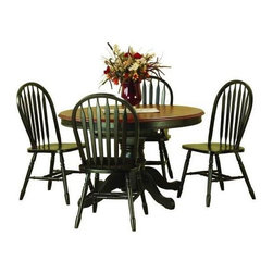 Sunset Trading - Round Butterfly Top Dining Table w Arrowback - Finish: Black & CherryIncludes table and 4 chairs. Sunset Collection. Solid handcrafted hardwood round extension table. Self storing 18 in. L butterfly leaf converts from 48 in. Dia. round to 66 in. L x 48 in. W oval. Pedestal with adjustable feet levelers. Windsor style arrowback chair. Curved back support. Steel reinforced turned legs. Scooped seat. Pictured in Black and Cherry. Assembly required. 1-Year manufacturer's warranty. Table: 66 in. L x 48 in. W x 30 in. H (124.16 lbs.). Chair: 20 in. W x 19.50 in. D x 38 in. H (16.01 lbs.)This beautifully designed furniture will assure you many years of use and enjoyment.