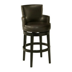 Pastel Zadar 30 in. Bar Stool - Enhance the décor-style of your private bar, den or game room with the Pastel Zadar 30 in. Barstool. A blend of contemporary and traditional styling, this barstool is perfect for counter seating. Nail-head trim along its edges increases its visual appeal. It's designed to be sturdy and features a solid wood, Feher black-finished frame with footrest. Experience comfort on its cozy padded seat, which is covered in smooth bonded leather. Additionally, the stool's swivel allows you to customize your seating. Please note: This item is not intended for commercial use. Warranty applies to residential use only.About Pastel Furniture:Pastel Furniture's attention to detail and commitment to quality make their products an ideal choice for any home. Their line of swivel bar stools and counter stools features innovative styles that easily fit into almost any home decor. These stools are built to last, using high-quality materials such as heavy-duty steel frames and web seat construction, and their hand-painted finishes are durable and rust-resistant. Pastel doesn't just stop at bar and counter stools, though; they provide a range of products from dining chairs and tables to full dining sets. You're sure to find something among their many fine products that catches your eye and coordinates perfectly with your home.