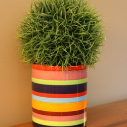 Striped Flower Pot, Hand Painted By Chalk Notes - Bold stripes give this little ceramic pot big personality! Use it in a child's bedroom, bathroom or playroom as a colorful accessory.