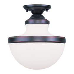 """Livex Lighting - Livex Lighting 5722 Oldwick 11.25 Inch Tall Semi-Flush Ceiling Fixture with 1 Li - Livex Lighting 5722 Oldwick One Light Semi-Flush Ceiling FixtureFeaturing a unique semi-flush design, the Oldwick 10.25"""" diameter single light ceiling fixture showcases an exclusive mushroom shaped design that will enhance the appeal of any room.Livex Lighting 5722 Features:"""
