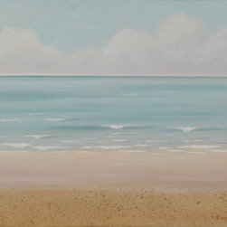 """Aqua Sea"" (Original) by Barbara Blair - An expansive, peaceful ocean scene of gently breaking waves and a sandy beach, in colors of light aqua and warm sand. The inspiration for this painting comes from the long beach walks that I frequently enjoy living close to the ocean in southern California.  The soft colors and horizontal design contribute to the calming effect that I wanted to convey with this piece."