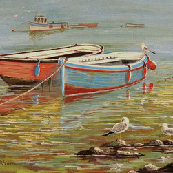 """""""Blue And Orange Boats"""" (Original) By Bill Holkham - Complemenatary Colors Singing Out In This Simple Yet Eye Catching Subject."""