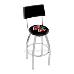 Holland Bar Stool - Holland Bar Stool L8C4 - Chrome Boston College Swivel Bar Stool - L8C4 - Chrome Boston College Swivel Bar Stool w/ Back belongs to College Collection by Holland Bar Stool Made for the ultimate sports fan, impress your buddies with this knockout from Holland Bar Stool. This contemporary L8C4 logo stool has a chrome single-ring base and a cushioned back to achieve maximum comfort and support. Holland Bar Stool uses a detailed screen print process that applies specially formulated epoxy-vinyl ink in numerous stages to produce a sharp, crisp, clear image of your team's emblem. You can't find a higher quality logo stool on the market. The plating grade steel used to build the frame is commercial quality, so it will withstand the abuse of the rowdiest of friends for years to come. The structure is triple chomed to ensure a rich, sleek, long lasting finish. Construction of this framework is built tough, utilizing solid mig welds. If you're going to finish your bar or game room, do it right- with a Holland Bar Stool. Barstool (1)