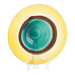 John Richard - John Richard Green and Yellow Glass Bowl JRA-8348 - Green and yellow glass bowl.