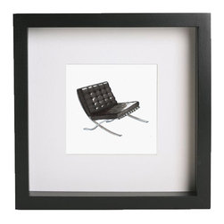 """Zach Mitchell Interiors - Barcelona Chair Print - Inspired by some of the most iconic designer furnishings ever created, these prints of hand-drawn and rendered illustrations add a classic touch to any interior. Each print comes matted and framed in a black, gallery-style frame, measuring approximately 9"""" square."""
