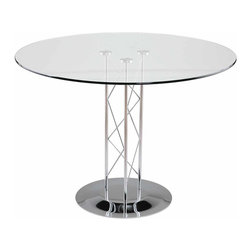 "Euro Style - Euro Style Trave 42"" Dining Table 08042G/08023D/08020C - Clear glass top and industrial strength base make Trave the first name in lasting style. The statement is crisp lines and clear strength. Sitting or standing room only!"