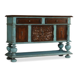Hooker Furniture - Turquoise and Brown Chest - White glove, in-home delivery included!  This chest is featured in a turquoise paint with contrasting brown finish.  Two drawers, left drawer has drop-front, three doors with one adjustable shelf behind each door.  One fixed shelf.  Ventilated back panel.  Wire management back panel.