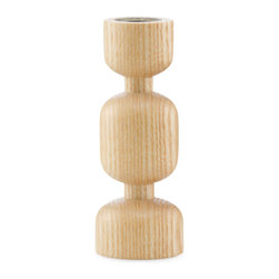 Modern Hourglass Candleholder - Designed from a single piece of cylindrical ash wood, the Modern Hourglass Candleholder will set a modern and artistic ambience in any bathroom space. Smooth curves and slender incisions allow this simplistic candleholder to shine. The weighted bottom ensures a sturdy stand, perfect for placing around the bathtub, or atop a steel and wood shelf for a playful and modern accent lighting.