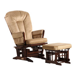 Dutailier - Dutailier 2 Post Glider and Ottoman Set in Coffee and Light Brown - Dutailier - Gliders & Rockers - C0182B623091 - About This Product: This Two Post glider and ottoman combo offers an exceptionally smooth and extra long glide motion with thick cushions and padded arms. The mechanism locks the glider in 6 different positions and makes it easier to sit in or step out of the glider. It will be the perfect addition to your child�s nursery or living room. There are no sharp edges, the finish is toxic free and this product meets all safety standards.