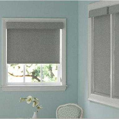 Bathroom - Roller Shades are versatile enough for formal living rooms to casual play areas. Also known as Solar Shades, they provide streamlined coverage if you layer them with draperies or accessorize with a decorative hem or valance. 3 Day Blinds offers fabrics that are eco-friendly, room darkening or solar screening.