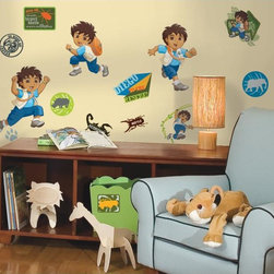 Roommates Decor - Diego Peel & Stick Wall Decals - Go, Diego, Go! Diego's adventures are coming right to your walls with this set of fun and colorful Wall Decals. Any adventurous little boy would appreciate these stickers on his walls. Make one or many scenes with Diego in various poses, and use the additional Wall Decals to decorate mirrors, bookshelves, headboards, or anything else in the room. Makes a great gift, too!