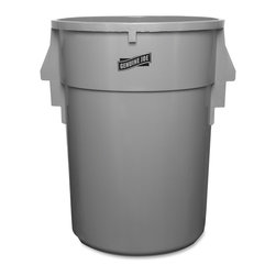 Genuine Joe - Genuine Joe Back Saver Trash Receptacle - 44 gal Capacity - Resin - Dark Gray - Back-saving trash receptacle cuts down on the effort to pull a filled bag loose. Internal Vent Ribs allow easy bag removal by breaking the vacuum caused when removing a poly liner. The included bag cinch secures a bag (sold separately) to the rim when you install it so you don't have to tie knots in the bag. Trash receptacle holds 44 gallons and is made of heavy-duty engineered resins.