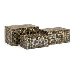 """IMAX CORPORATION - Noida Mosaic Boxes - Set of 3 - Glass and mirrored tiles in neutral palette breathe life into these classic decorative boxes. Use to store odds and ends or simply as a decorative touch. For a coordinated look purchase matching vases and decorative balls. Set of 3 in various sizes measuring around 21.5""""L x 11""""W x 13""""H each. Shop home furnishings, decor, and accessories from Posh Urban Furnishings. Beautiful, stylish furniture and decor that will brighten your home instantly. Shop modern, traditional, vintage, and world designs."""
