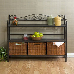 Upton Home - Baker's Rack with Three Rattan Drawers - Add a beautiful touch of detail to your home with this gunmetal baker's rack. Chefs can keep everything they need on hand with its two spacious shelves and three rattan removable baskets. Its scroll motif adds a stylish touch to any kitchen.
